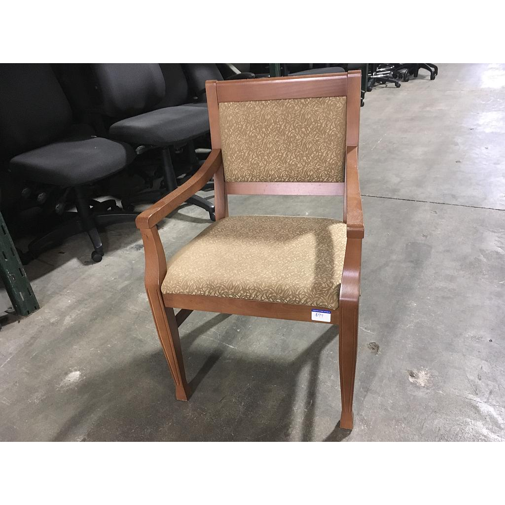 Maple chair w/ gold patterned seat cushions w/ arms