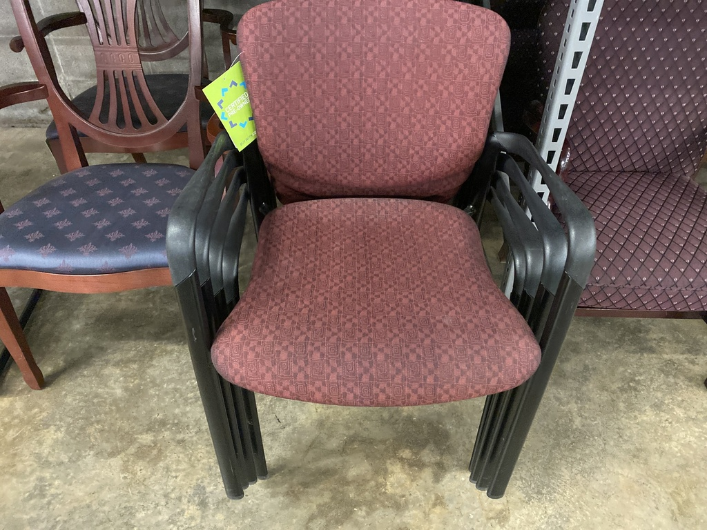 Black Frame Maroon Fabric Guest Chair