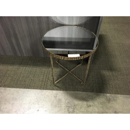 Side Table w/ black glass top w/ gold metal base List $480