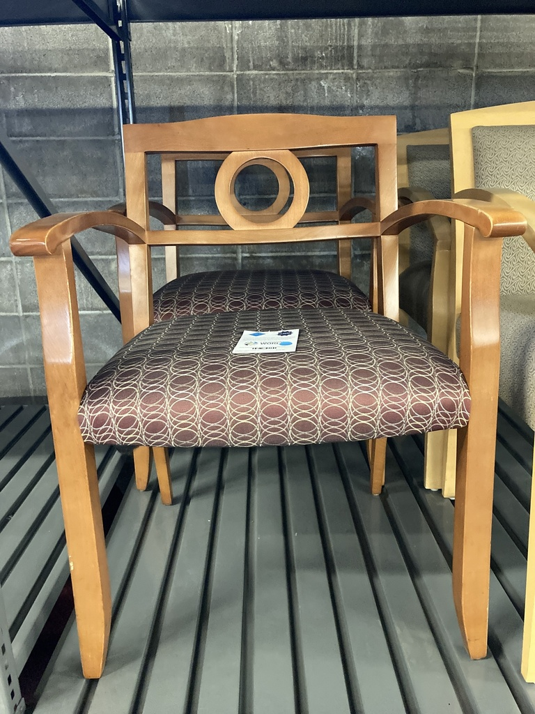 Circle Patterned Cloth w/ Honey Arms/Back Side Chair