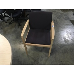 Maple chair w/ purple seat cushions