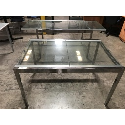 "Glass table 50""x34"" with Chrome Base"