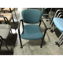 Green Cloth Stack Chair on wheels