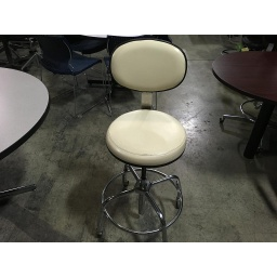 White Pleather Stool w/Wheels