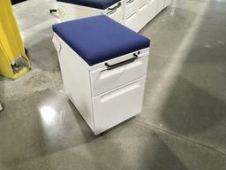 Mobile pedestal files w/ blue seat cushion